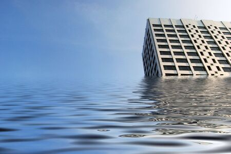 simulation: Simulation of flooded tower block in city centre.