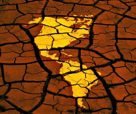 continente americano: Mapa del continente americano se aplica a cauce seco Foto de archivo