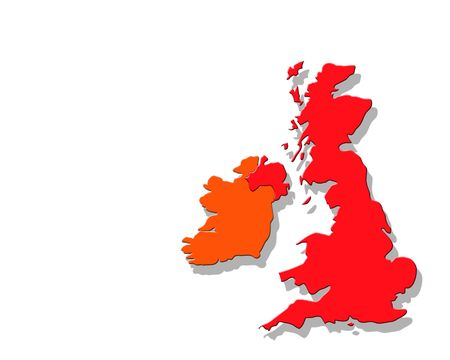 british isles: Outline map of Britain with drop shadow