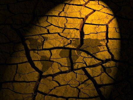 lifeless: Spotlight on World map over dry river bed