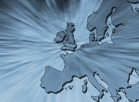 glimmer: Abstract image overlaid over outline map of europe