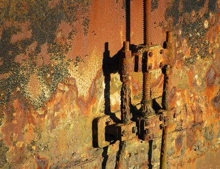 rusting: Texture close-up of old metal lock gate