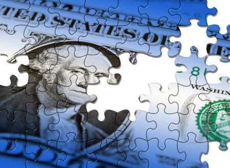Jigsaw puzzle pattern applied to US Dollar note photo