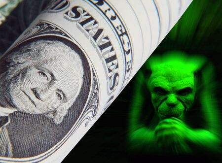 gremlin: US dollar bill overlaid with green gremlin