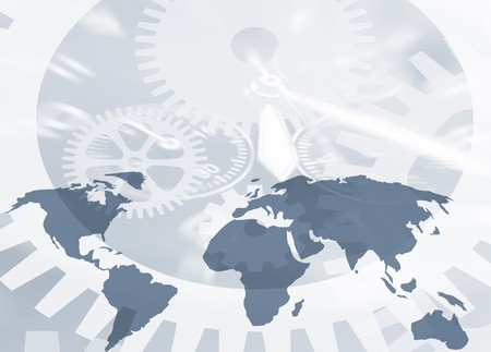Conceptual image showing world map and time abstract Stock Photo - 4203836