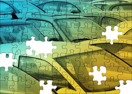 polution: Jigsaw puzzle of cars in parking lot Stock Photo