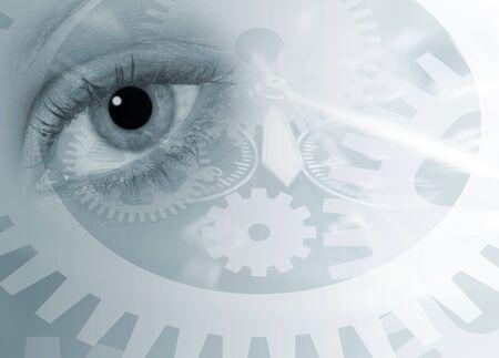 時間の概念の上の女性の目のイメージがわかない