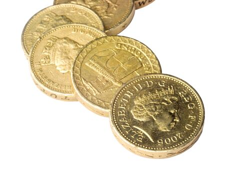 close-up of UK pound coins over white Stock Photo - 4249514