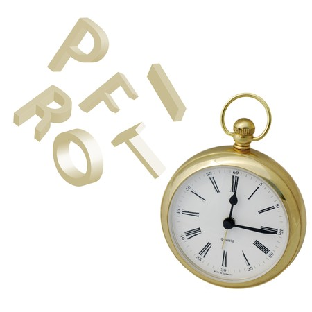 Falling letters spelling profit over alarm clock on white Stock Photo - 4249506