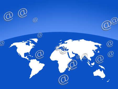 World ouline map overlaid with email symbols photo