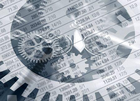 オーバーレイ新聞本誌の財務データの抽象的な 写真素材