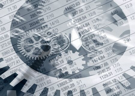 cogs and gears: Time abstract overlaid over newspaper financial figures Stock Photo