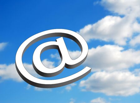 http: Email symbol overlaid over cloudy blue sky Stock Photo