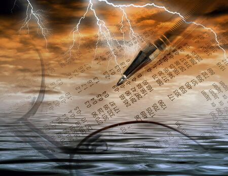 stockmarket: Conceptual image of financial abstract and stormy weather
