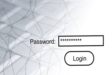 Internet security concept showing computer, barbed wire and password login. photo