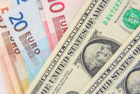 US Dollar and European Euro bank notes Stock Photo - 4470249