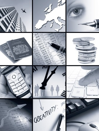Twelve individual images relating to business concepts photo