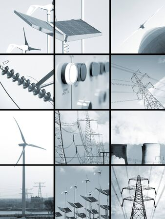 Set of blue toned images relating to electricity Stock Photo - 4552287