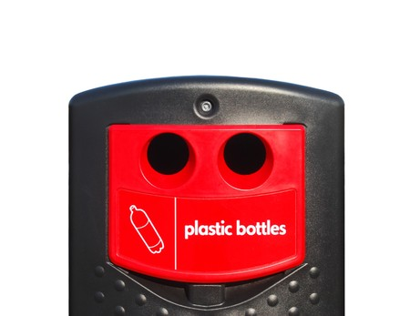 throwaway: Plastic bottle disposal unit over white background Stock Photo