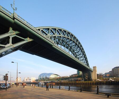 steel bridge: View of Newcastle to Gateshead bridge on sunny day