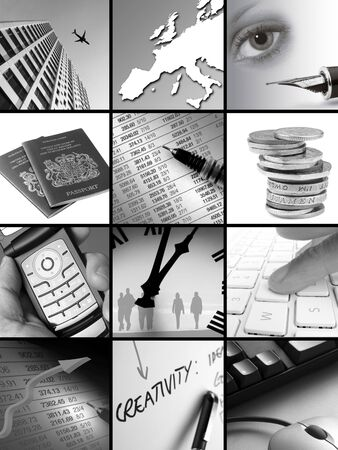 Twelve different images relating to business concepts photo