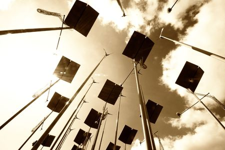 Sepia toned image of wind turbines and solar panels Stock Photo - 4699294