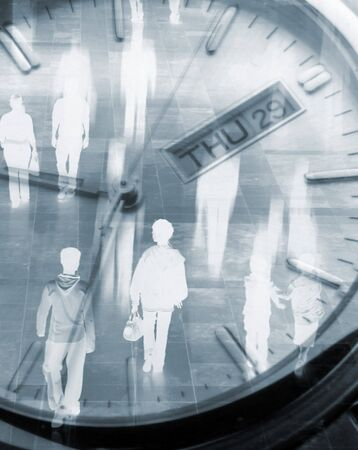 lady clock: Surreal composite image mixing shoppers and watch
