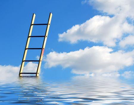 rungs: Concepto de medio ambiente que muestra en escala simulada agua que llega al cielo
