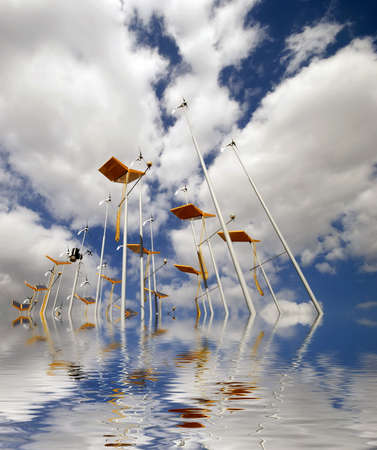 Global warming concept showing wind turbines and solar panes with flood water Stock Photo - 4837218