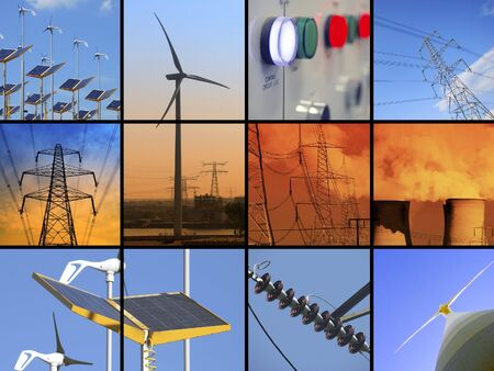 global cooling: Set of twelve images relating to electricity