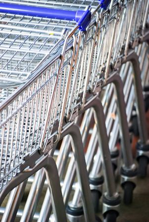 Close-up of trolley carts ouside of supermarket Stock Photo - 4881925