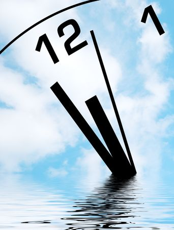 sinking: Time concept showing clock face sinking into water