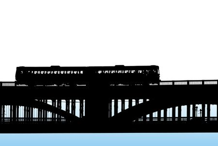 Black silhouette of train crossing railway bridge on white to blue background