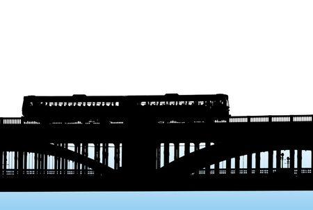 Zwarte silhouet van de trein kruising spoorwegbrug op wit op blauwe achtergrond Stockfoto - 4882660