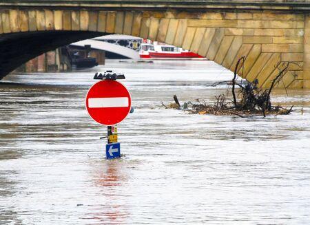 environment damage: York flooding showing traffic sign under water Stock Photo