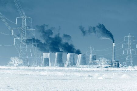 Negative image of coal power station with blue tone effect Stock Photo - 4964177