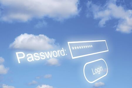Password text overlaid onto cloudy blue sky photo