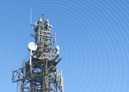 airwaves: Communication concept showing mast overlaid with rings