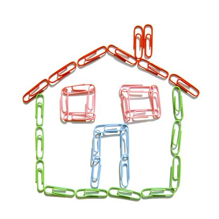 Colored paperclips in the shape of a house Stock Photo - 5174616