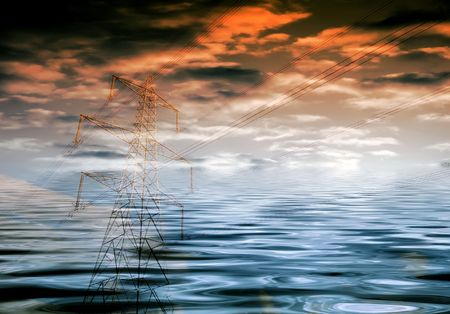 Environmental concept showing electricity pylon overlaid over flood waters and cloudy sky Stock Photo - 5174631