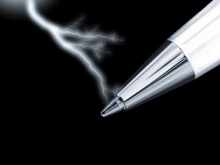 communications tools: Close-up of ballpoint pen overlaid with lightning effect Stock Photo