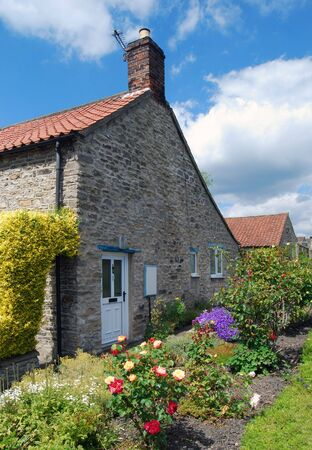 Postcard view of end terraced house side garden photo