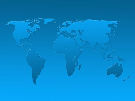 Outline map of world over graduated blue background Stock Photo - 5386751