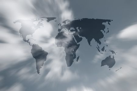 Outline map of world over cloudy sky Stock Photo - 5386746