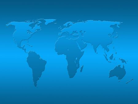 Outline map of world over blue background Stock Photo - 5402087