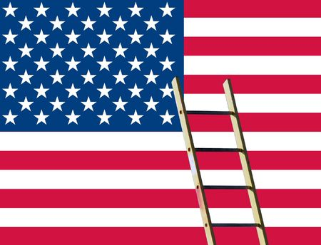 rungs: US Stars and Stripes flag overlaid with builders ladder