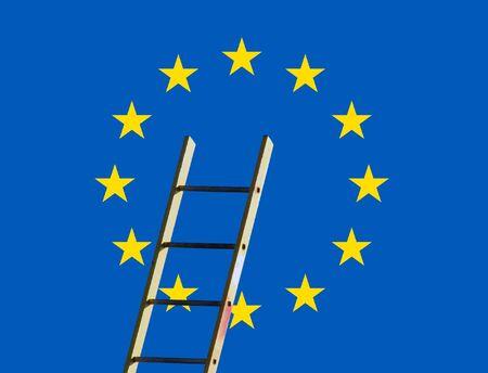 rungs: Bandera europea superpuesta con los constructores de paso de escalera
