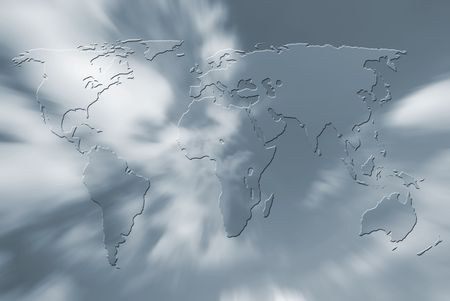 Outline map of world over sky abstract Stock Photo - 5598627