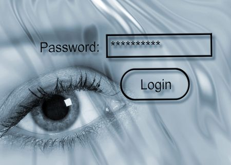 Internet security concept showing eye with password Stock Photo - 5712359