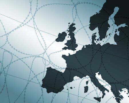 barbwire: Outline map of Europe overlaid with barbwire Stock Photo